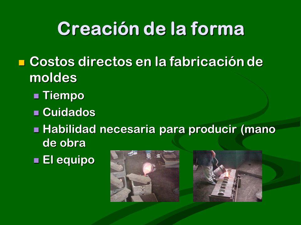 Creación de la forma Costos directos en la fabricación de moldes