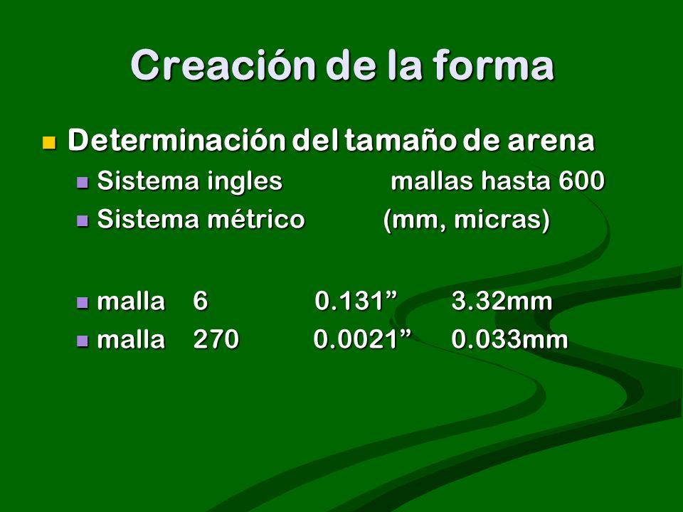 Creación de la forma Determinación del tamaño de arena