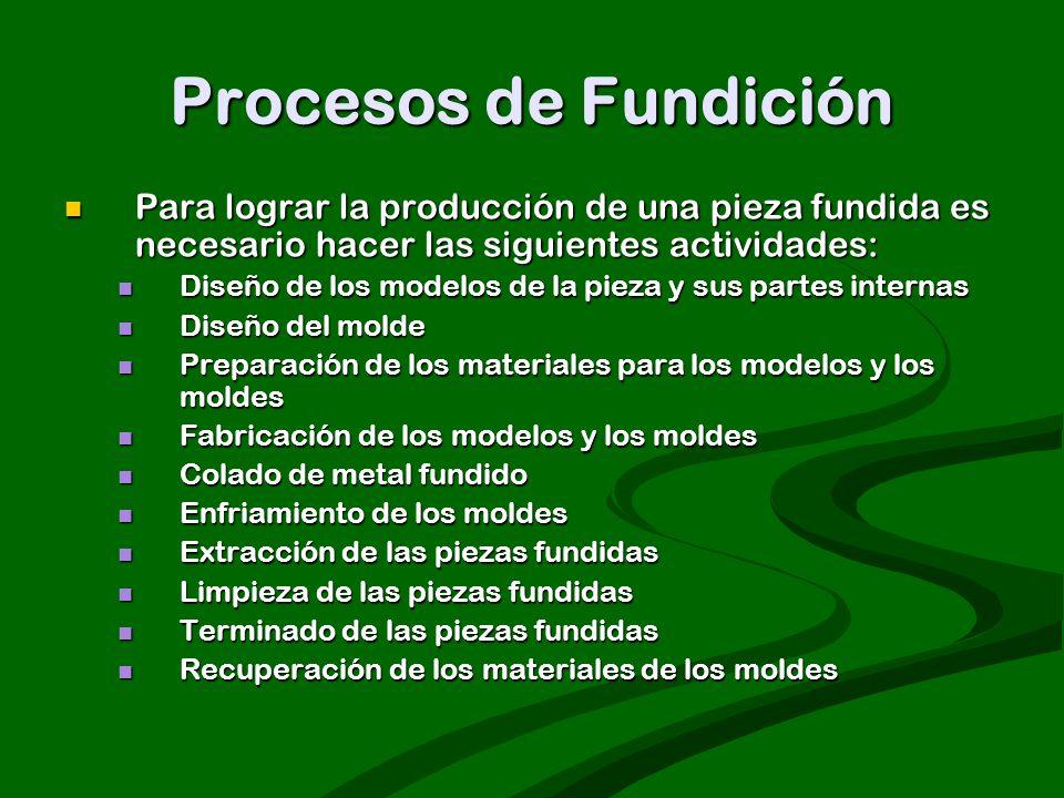 Procesos de Fundición Para lograr la producción de una pieza fundida es necesario hacer las siguientes actividades: