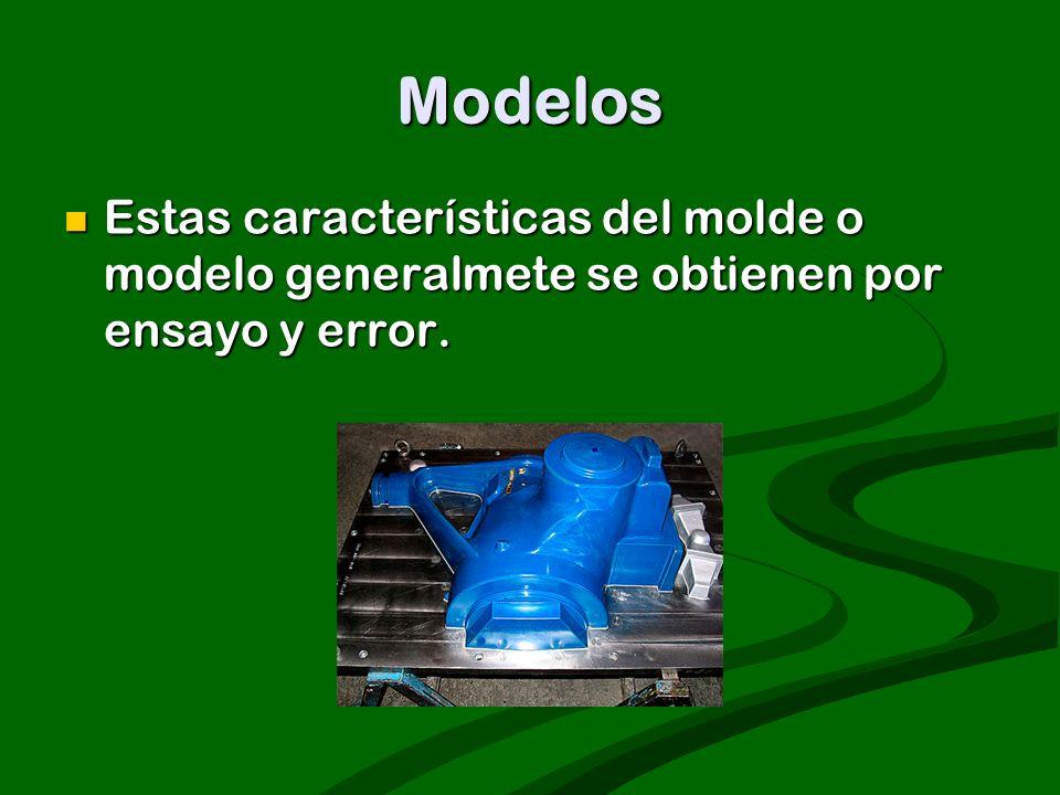Modelos Estas características del molde o modelo generalmete se obtienen por ensayo y error.