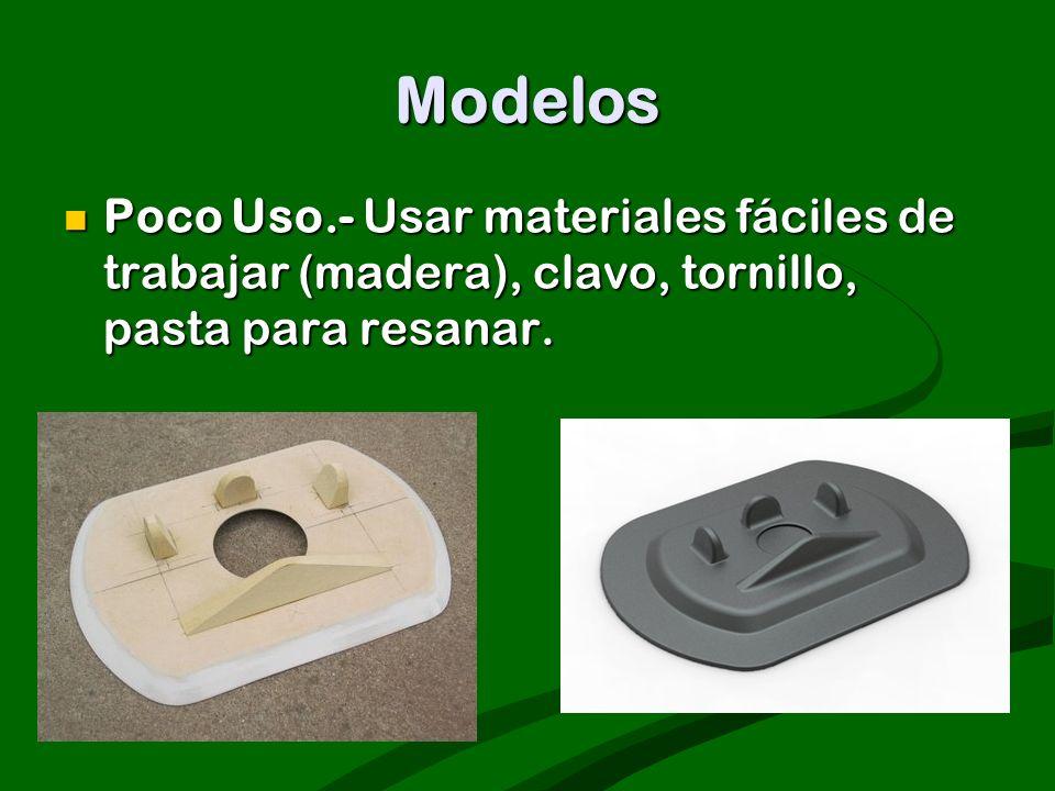 Modelos Poco Uso.- Usar materiales fáciles de trabajar (madera), clavo, tornillo, pasta para resanar.