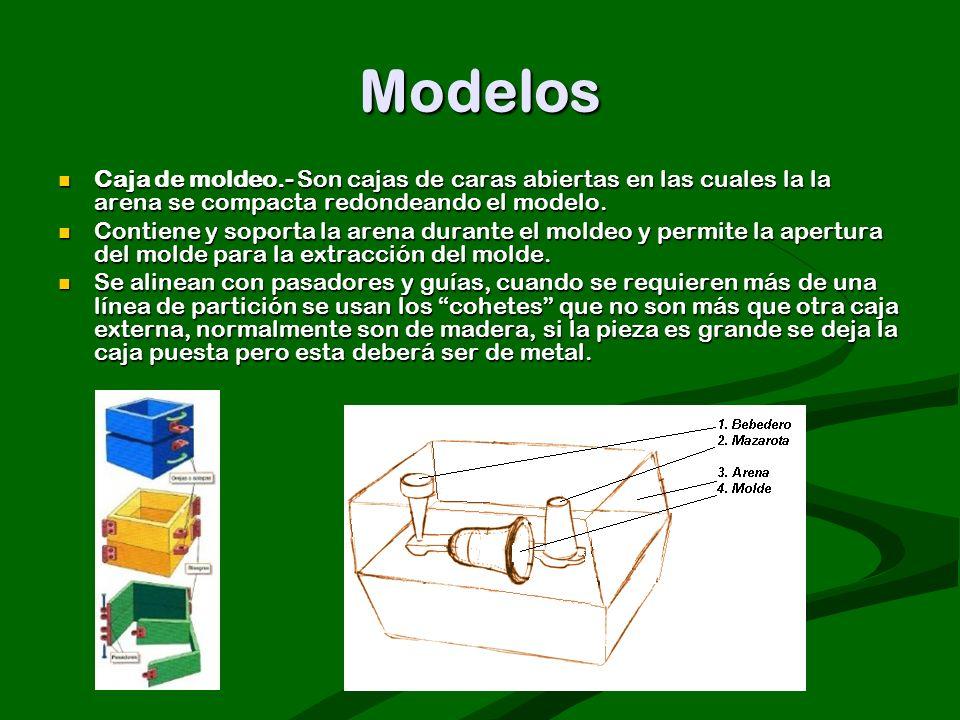 Modelos Caja de moldeo.- Son cajas de caras abiertas en las cuales la la arena se compacta redondeando el modelo.