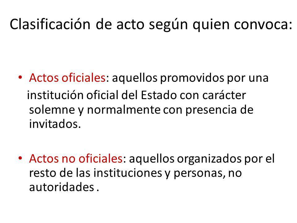Clasificación de acto según quien convoca: