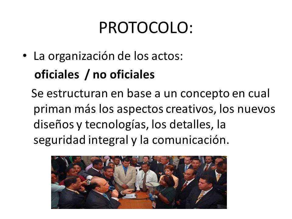 PROTOCOLO: La organización de los actos: oficiales / no oficiales