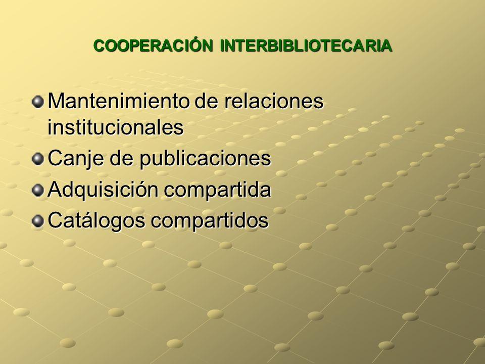 COOPERACIÓN INTERBIBLIOTECARIA