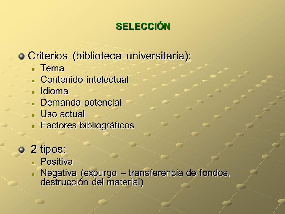 Criterios (biblioteca universitaria):