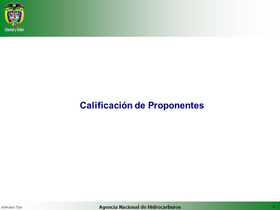 Calificación de Proponentes Agencia Nacional de Hidrocarburos
