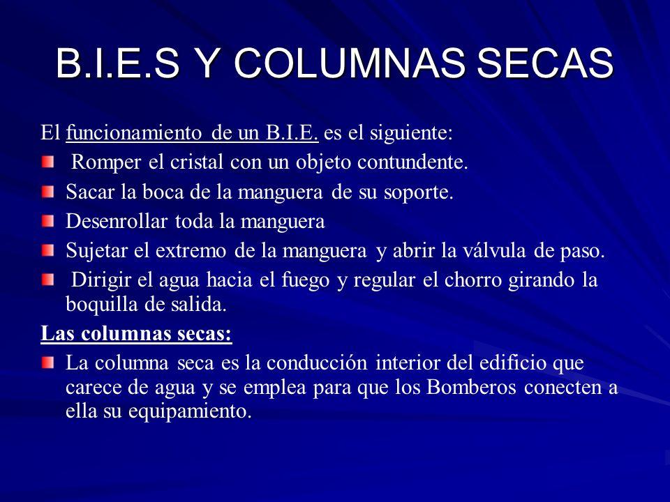 B.I.E.S Y COLUMNAS SECAS El funcionamiento de un B.I.E. es el siguiente: Romper el cristal con un objeto contundente.