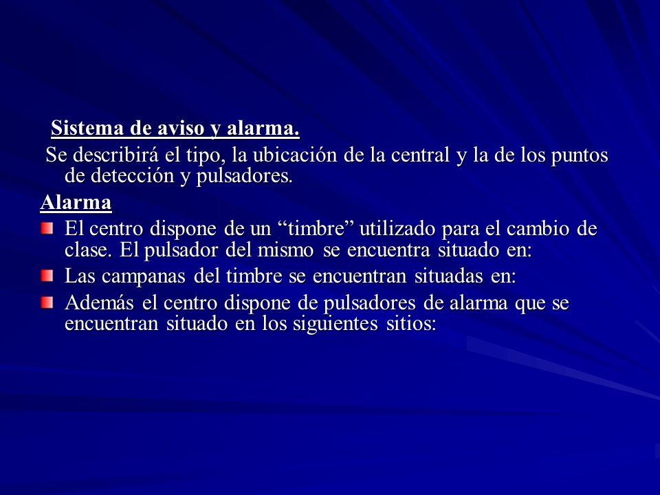 Sistema de aviso y alarma.