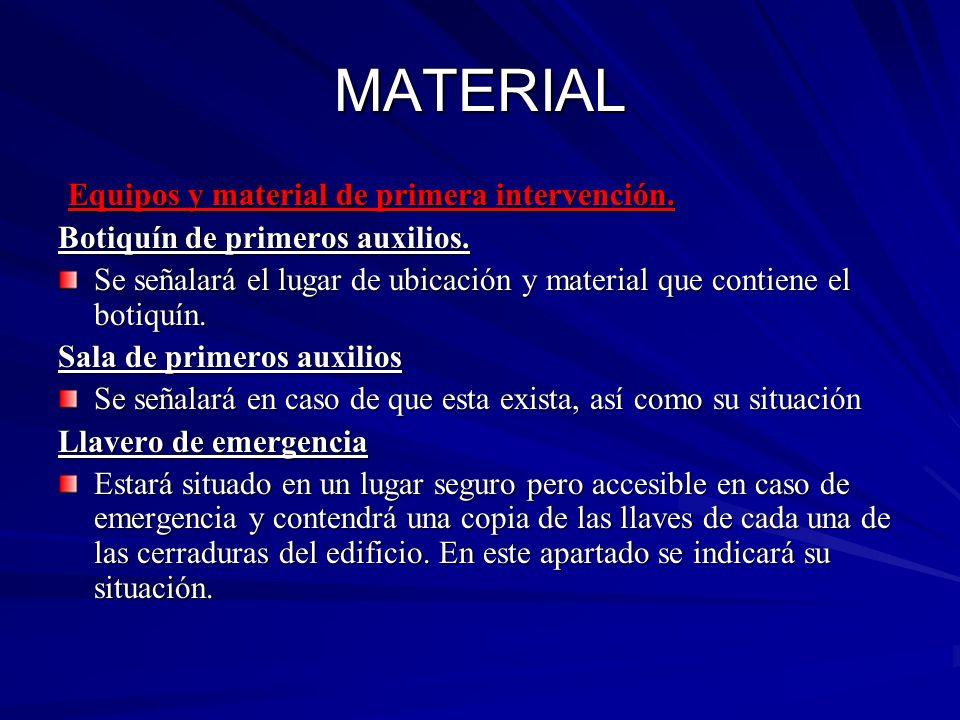 MATERIAL Equipos y material de primera intervención.