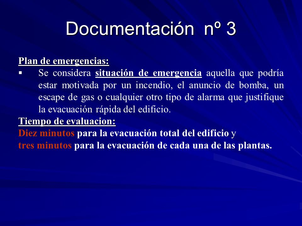 Documentación nº 3 Plan de emergencias: