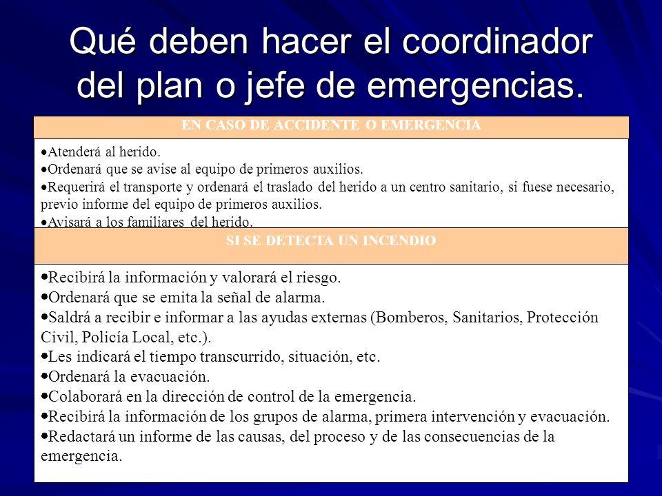 Qué deben hacer el coordinador del plan o jefe de emergencias.