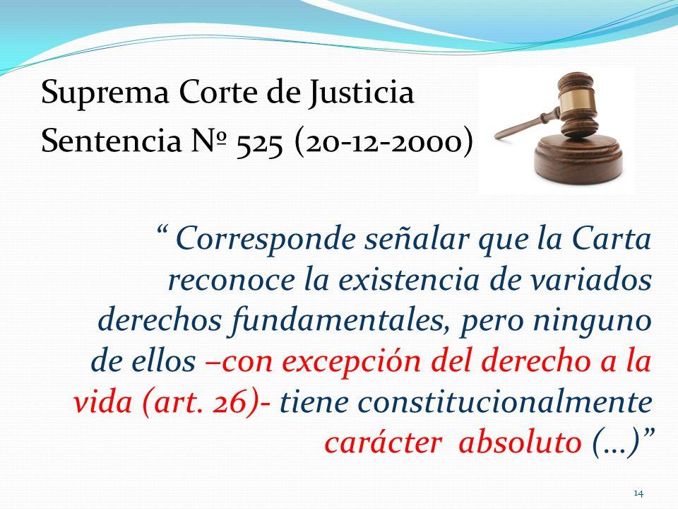 Suprema Corte de Justicia Sentencia Nº 525 (20-12-2000) Corresponde señalar que la Carta reconoce la existencia de variados derechos fundamentales, pero ninguno de ellos –con excepción del derecho a la vida (art.