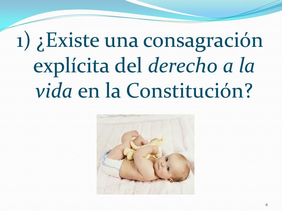 1) ¿Existe una consagración explícita del derecho a la vida en la Constitución