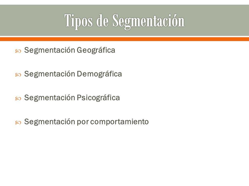 Tipos de Segmentación Segmentación Geográfica Segmentación Demográfica