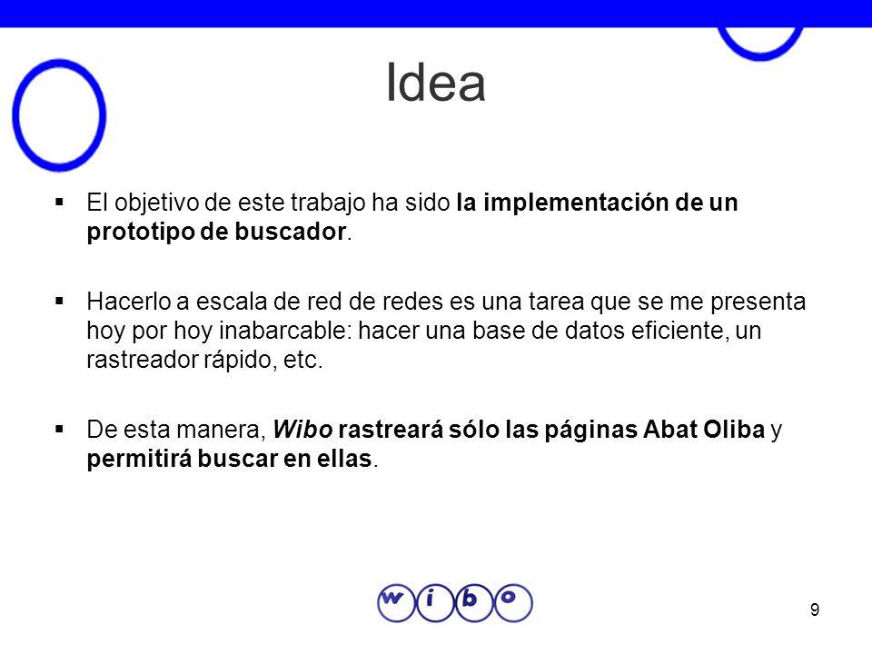 IdeaEl objetivo de este trabajo ha sido la implementación de un prototipo de buscador.