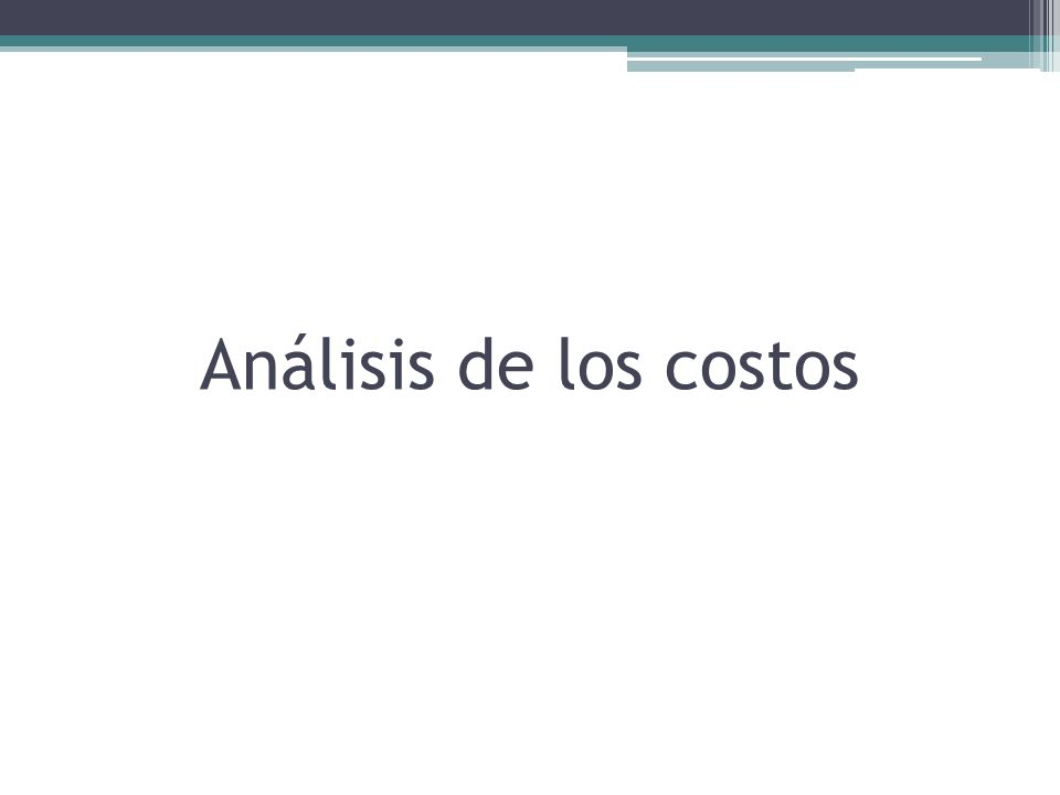 Análisis de los costos