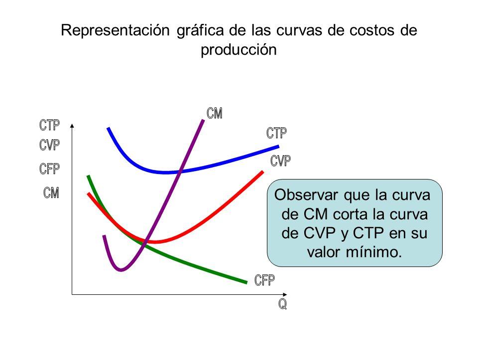Representación gráfica de las curvas de costos de producción