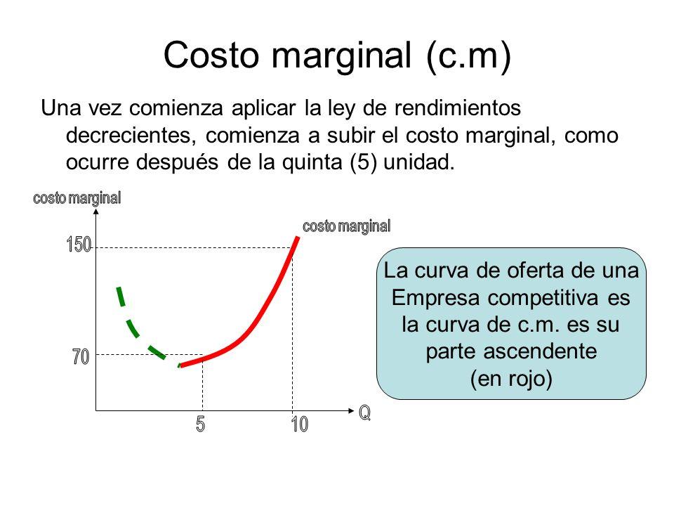 Costo marginal (c.m)