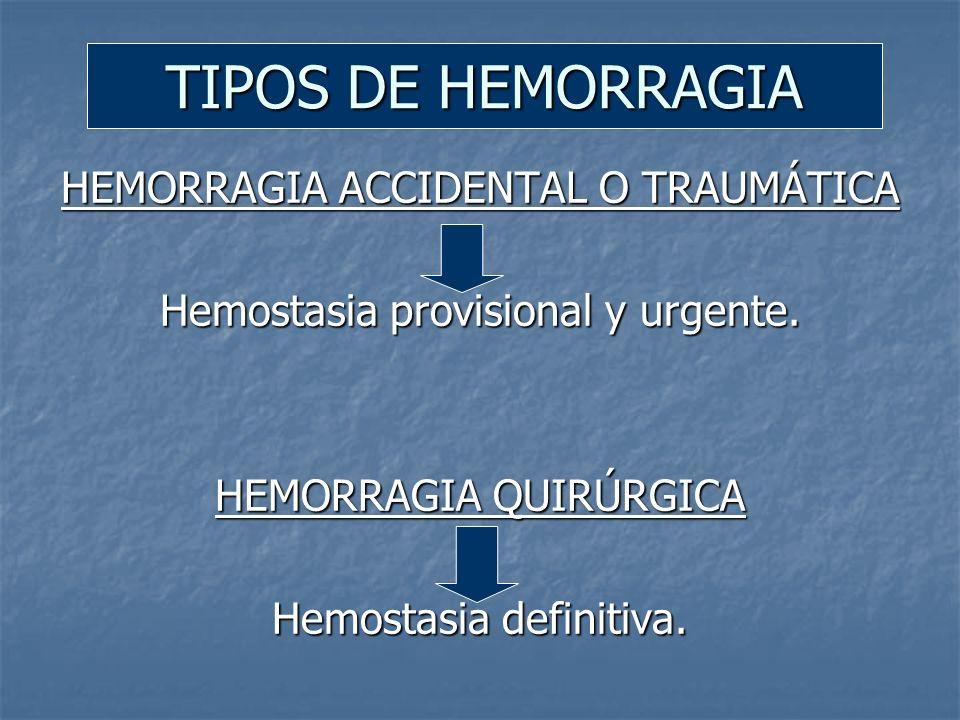 TIPOS DE HEMORRAGIA HEMORRAGIA ACCIDENTAL O TRAUMÁTICA