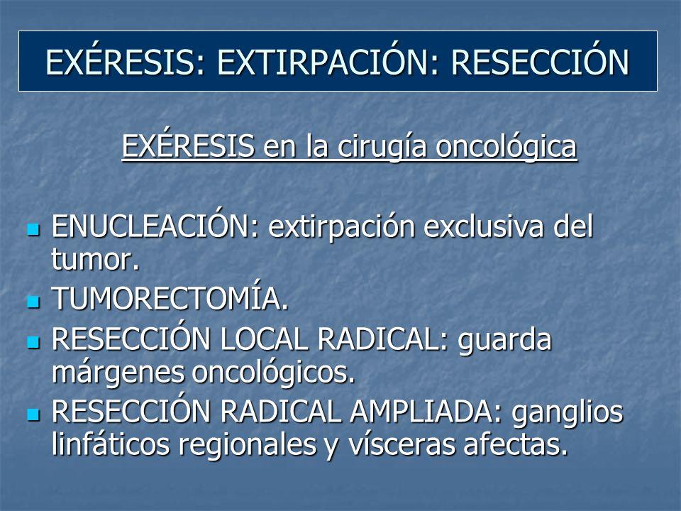 EXÉRESIS: EXTIRPACIÓN: RESECCIÓN