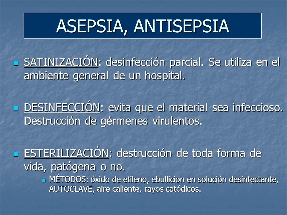ASEPSIA, ANTISEPSIA SATINIZACIÓN: desinfección parcial. Se utiliza en el ambiente general de un hospital.