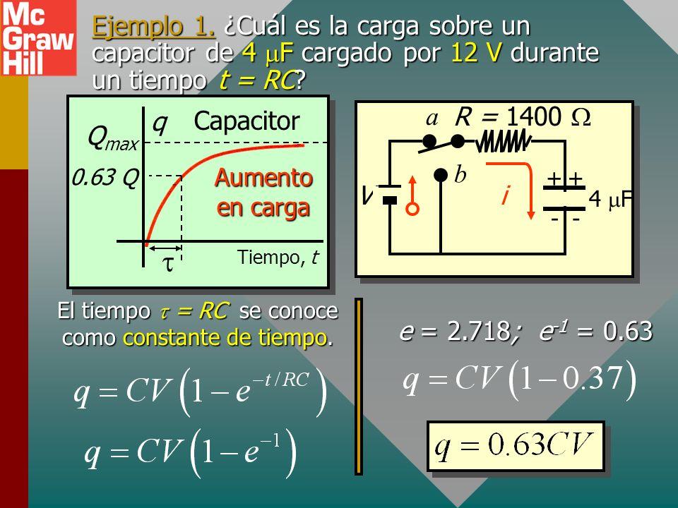 El tiempo t = RC se conoce como constante de tiempo.