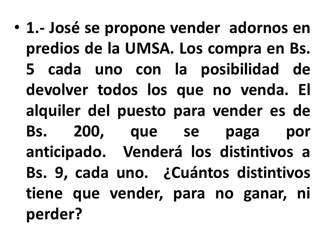 1. - José se propone vender adornos en predios de la UMSA
