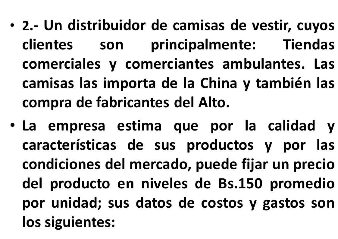 2.- Un distribuidor de camisas de vestir, cuyos clientes son principalmente: Tiendas comerciales y comerciantes ambulantes. Las camisas las importa de la China y también las compra de fabricantes del Alto.