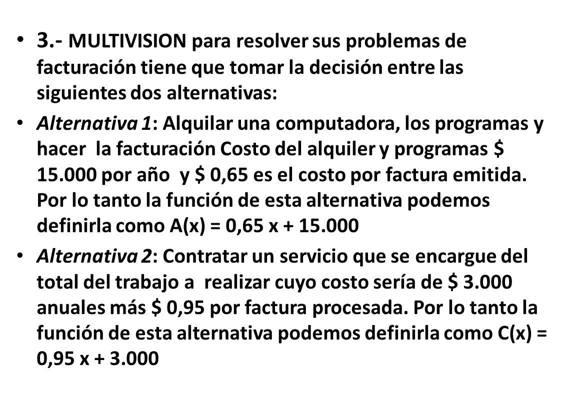 3.- MULTIVISION para resolver sus problemas de facturación tiene que tomar la decisión entre las siguientes dos alternativas: