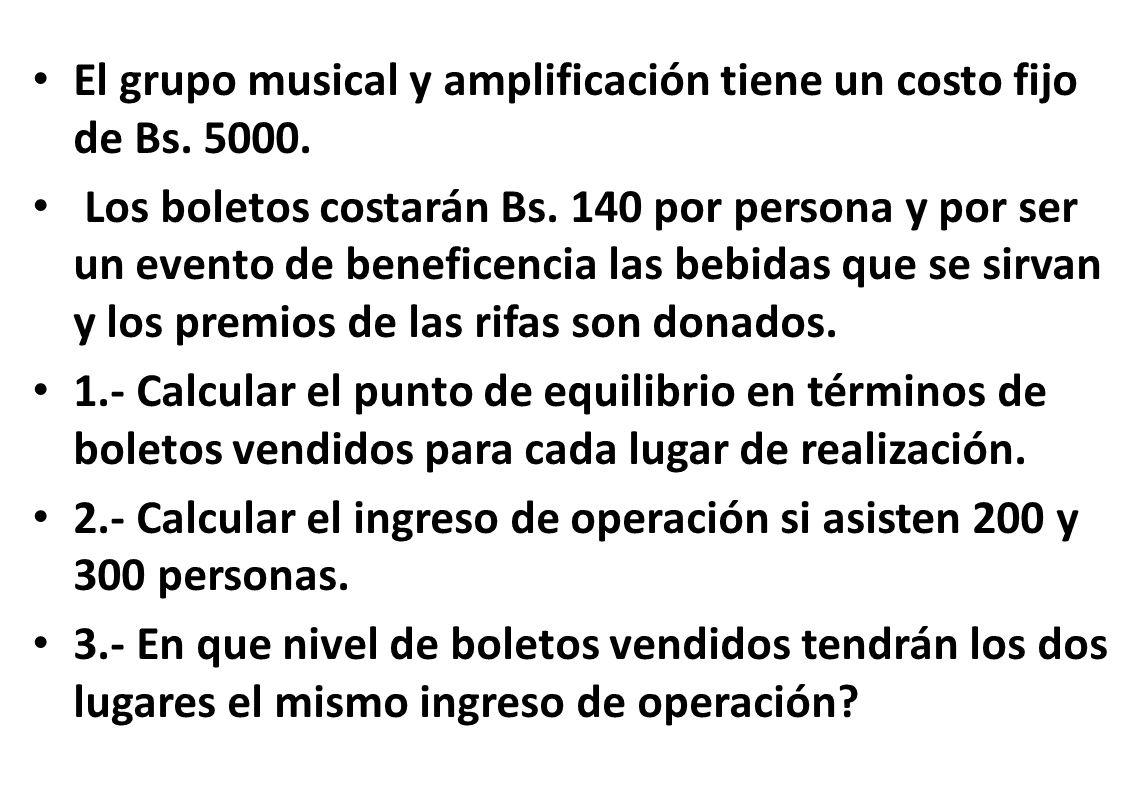 El grupo musical y amplificación tiene un costo fijo de Bs. 5000.