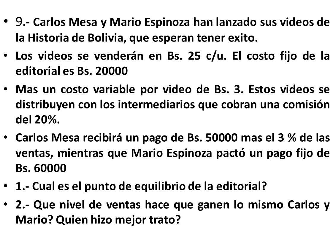9.- Carlos Mesa y Mario Espinoza han lanzado sus videos de la Historia de Bolivia, que esperan tener exito.