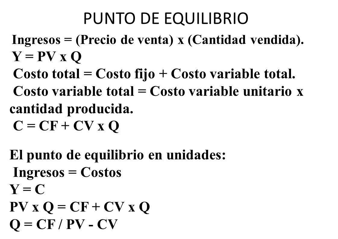 PUNTO DE EQUILIBRIO Costo total = Costo fijo + Costo variable total.