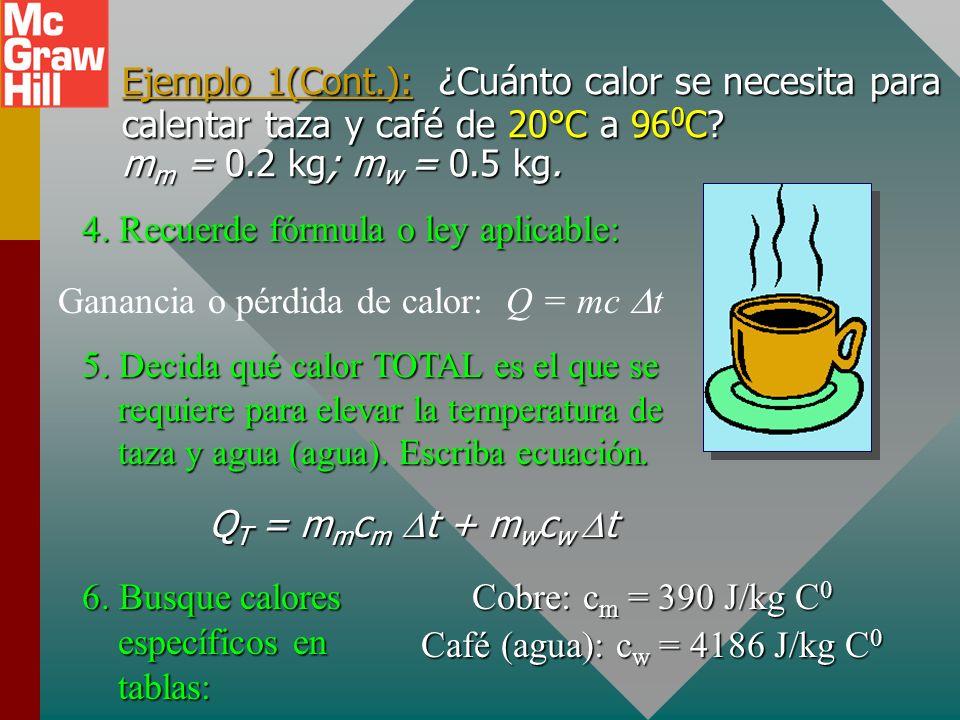 Ejemplo 1(Cont.): ¿Cuánto calor se necesita para calentar taza y café de 20°C a 960C mm = 0.2 kg; mw = 0.5 kg.