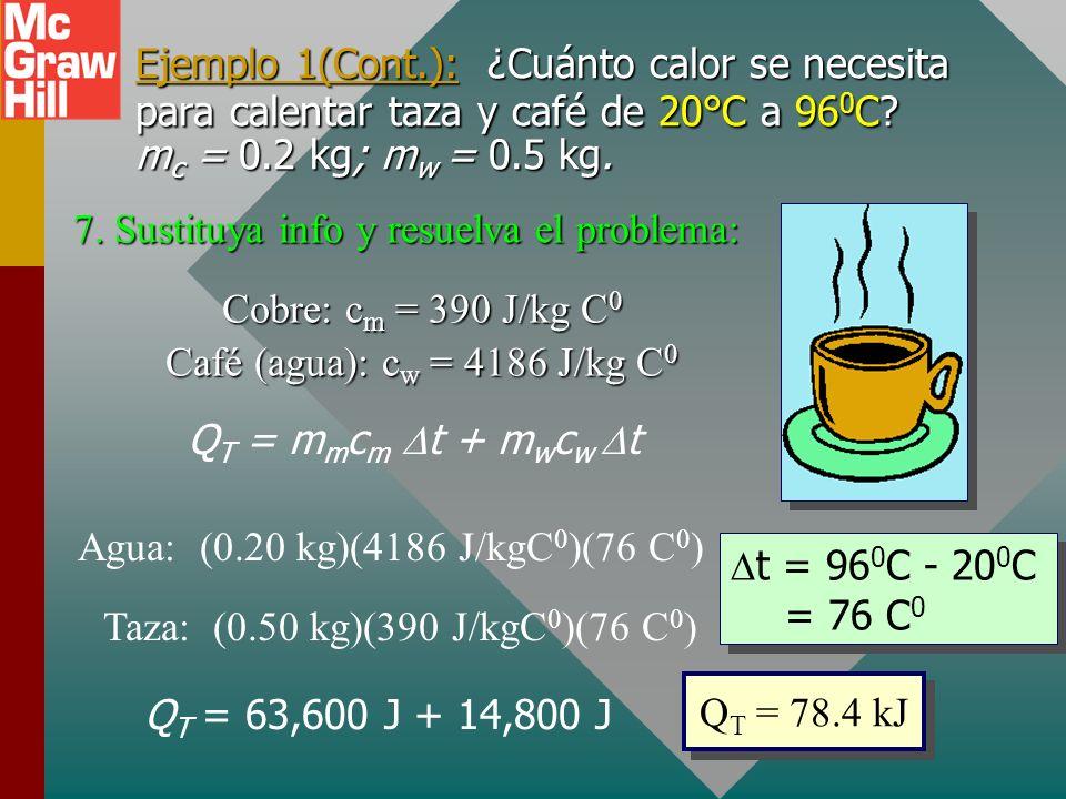 Ejemplo 1(Cont.): ¿Cuánto calor se necesita para calentar taza y café de 20°C a 960C mc = 0.2 kg; mw = 0.5 kg.