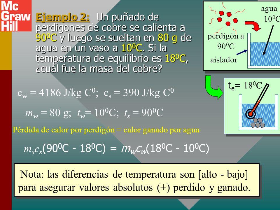 Pérdida de calor por perdigón = calor ganado por agua