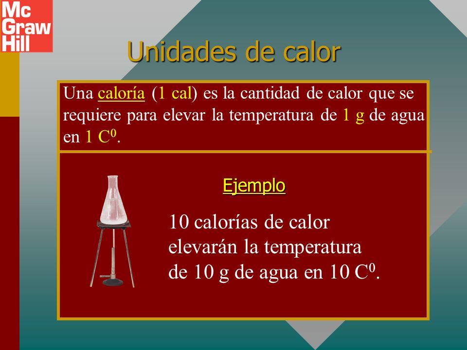 Unidades de calor Una caloría (1 cal) es la cantidad de calor que se requiere para elevar la temperatura de 1 g de agua en 1 C0.