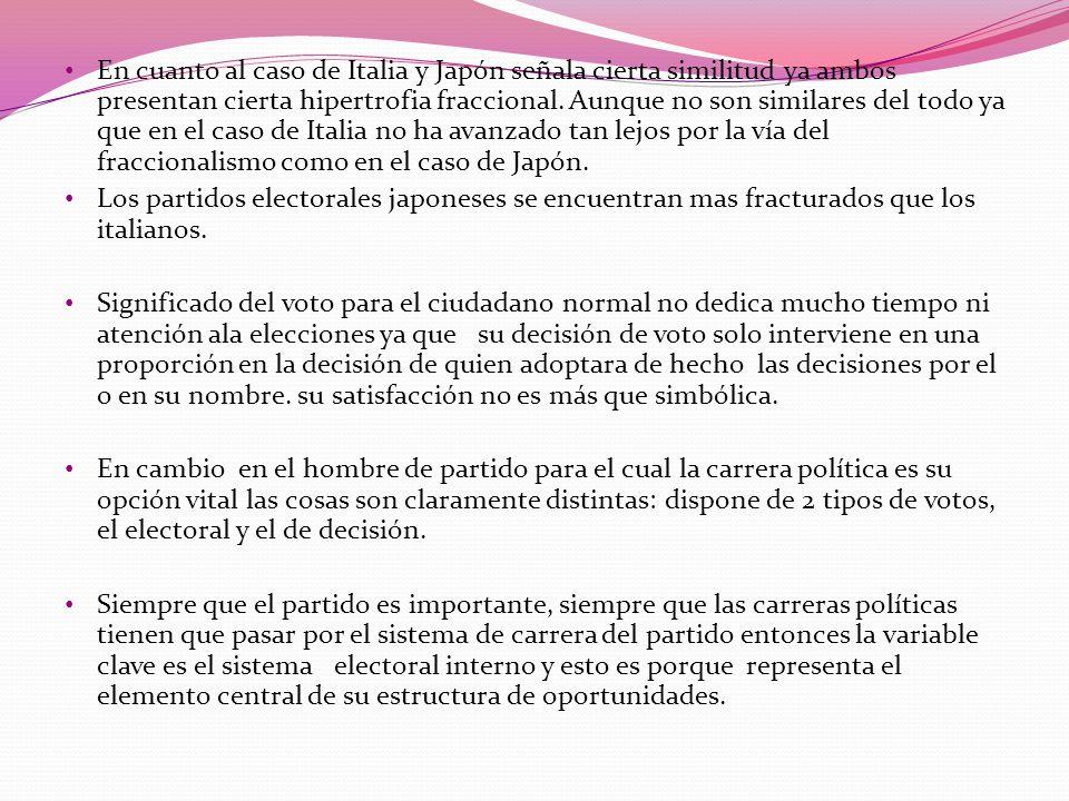 En cuanto al caso de Italia y Japón señala cierta similitud ya ambos presentan cierta hipertrofia fraccional. Aunque no son similares del todo ya que en el caso de Italia no ha avanzado tan lejos por la vía del fraccionalismo como en el caso de Japón.