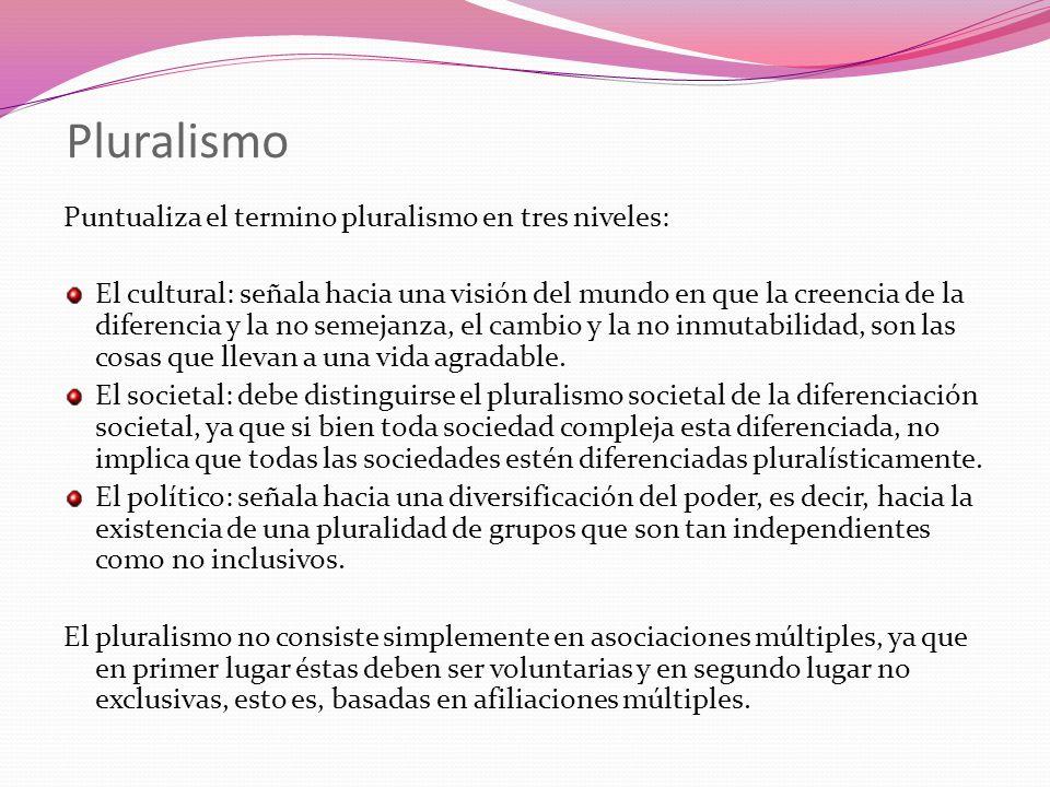Pluralismo Puntualiza el termino pluralismo en tres niveles: