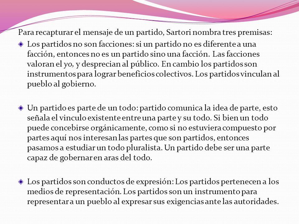 Para recapturar el mensaje de un partido, Sartori nombra tres premisas: