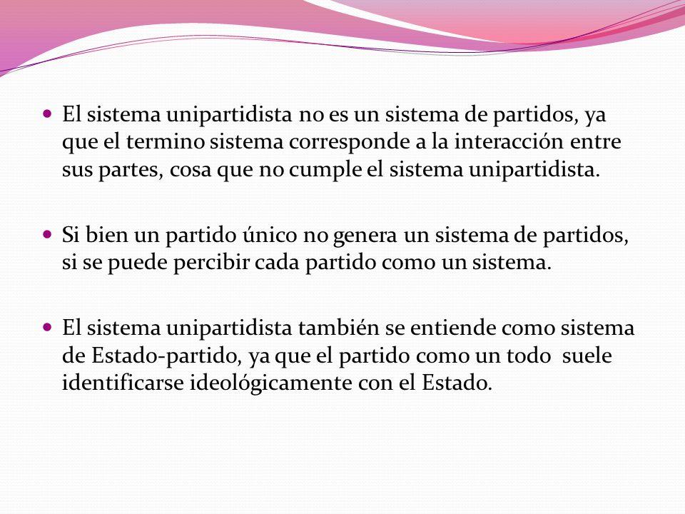 El sistema unipartidista no es un sistema de partidos, ya que el termino sistema corresponde a la interacción entre sus partes, cosa que no cumple el sistema unipartidista.