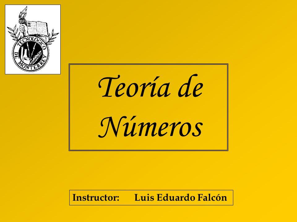 Teoría de Números Instructor: Luis Eduardo Falcón
