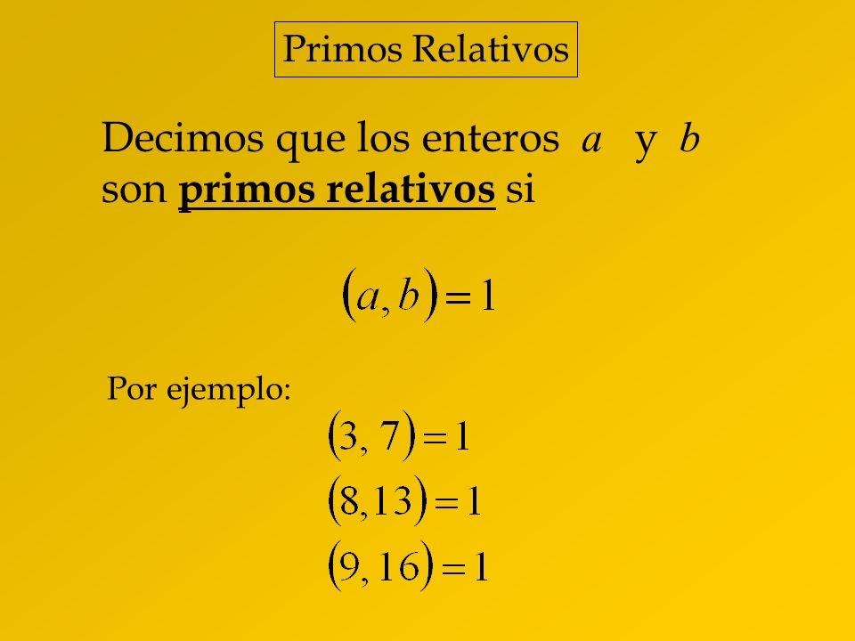 Decimos que los enteros a y b son primos relativos si