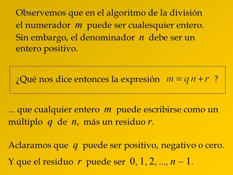Observemos que en el algoritmo de la división el numerador m puede ser cualesquier entero.