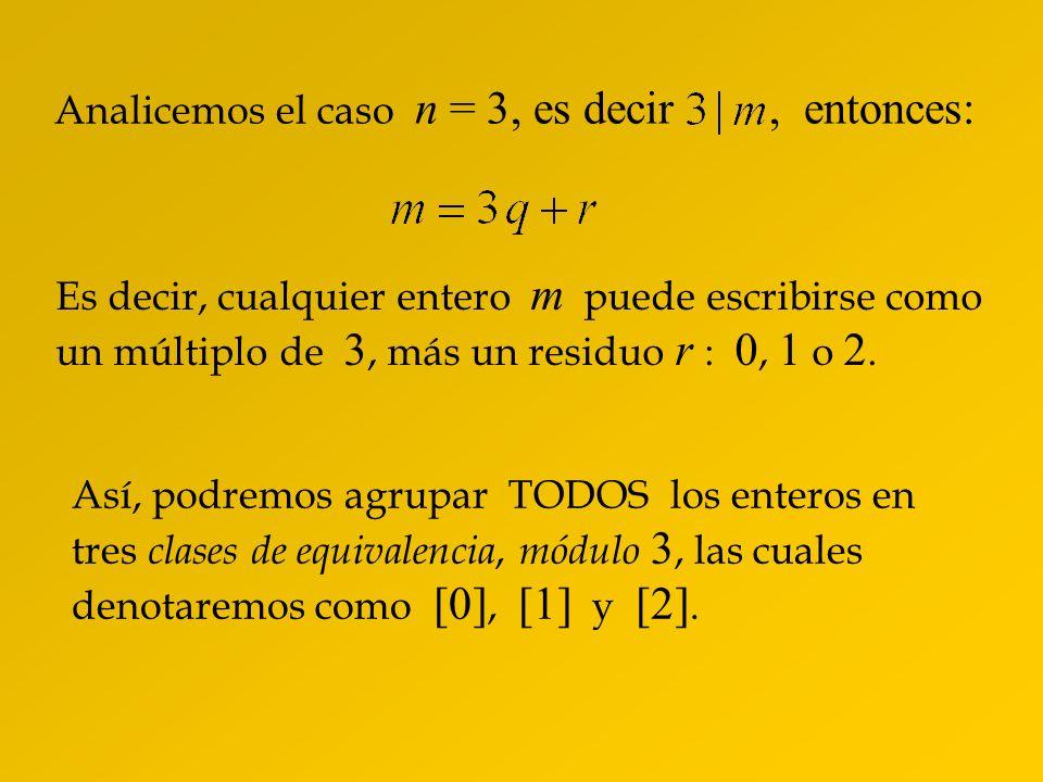Analicemos el caso n = 3, es decir , entonces: