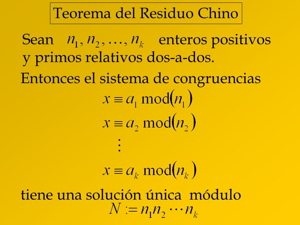Teorema del Residuo Chino
