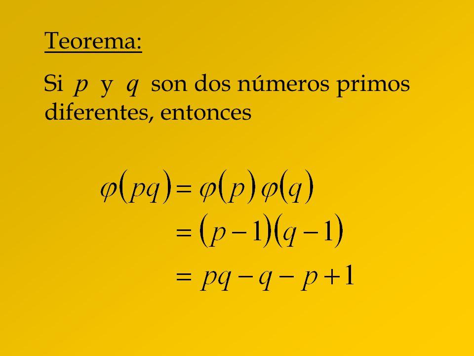 Teorema: Si p y q son dos números primos diferentes, entonces