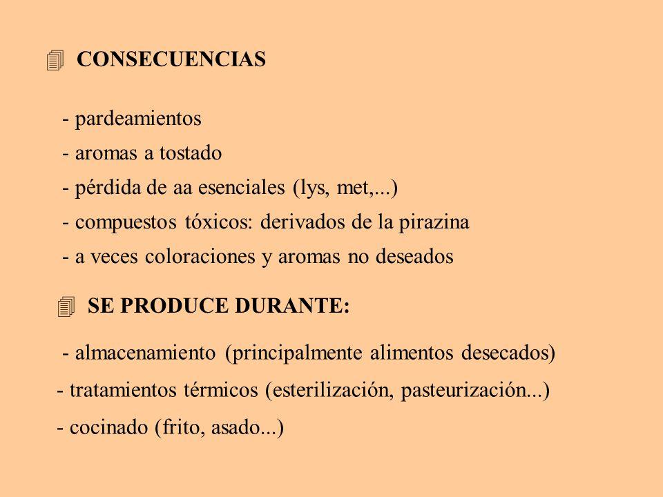 CONSECUENCIAS - pardeamientos. - aromas a tostado. - pérdida de aa esenciales (lys, met,...) - compuestos tóxicos: derivados de la pirazina.