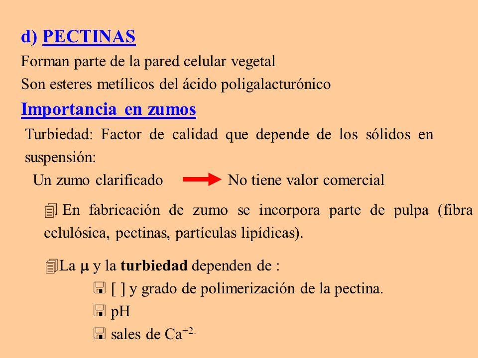 d) PECTINAS Forman parte de la pared celular vegetal Son esteres metílicos del ácido poligalacturónico