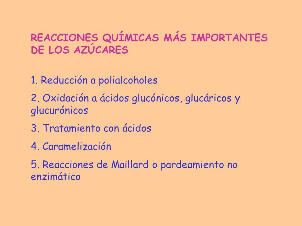 REACCIONES QUÍMICAS MÁS IMPORTANTES DE LOS AZÚCARES
